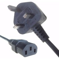 Connekt Gear Black 5A UK Mains Plug Top to IEC Female C13 Kettle TV Power Cord Cable - 1 Meter