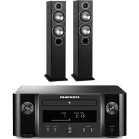 Marantz Melody MCR412 True HiFi CD System Black with Monitor Audio Bronze 5 Floorstanding Speakers Black Oak