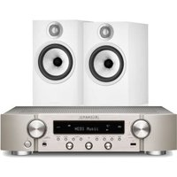 Marantz NR1200 Stereo Network Receiver Silver with Bowers and Wilkins 606 S2 Standmount Loudspeakers White