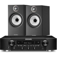 Marantz NR1200 Stereo Network Receiver Black with Bowers and Wilkins 606 S2 Standmount Loudspeakers Black