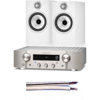 Marantz PM7000N Network Streaming HiFi Amplifier Silver with Bowers and Wilkins 606 S2 Standmount Loudspeakers Pair White