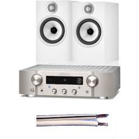 Marantz PM7000N Network Streaming HiFi Amplifier Silver with Bowers and Wilkins 607 S2 Bookshelf Speakers Pair White