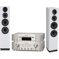 Marantz PM8006 HiFi Amplifier with ND8006 Network CD Player in Silver and Wharfedale Diamond 11 4 Fl