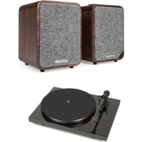 Pro ject Debut Carbon DC Turntable In Black With Ruark MR1 MK2 Active Bluetooth Speaker in Walnut