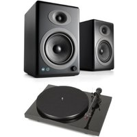 Pro ject Debut Carbon DC Turntable In Black With Audioengine A5+ Wireless Speaker System Satin Black