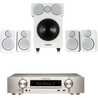 Marantz NR1509 Silver Gold 5 2 Channel AV Receiver with Wharfedale DX 2 5 1 Speaker Package White