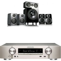 Marantz NR1509 Silver Gold 5 2 Channel AV Receiver with Wharfedale DX 2 5 1 Speaker Package Black