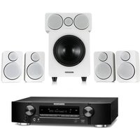 Marantz NR1609 Black AV Receiver with HEOS Black Plus Wharfedale DX 2 5 1 Speaker Package in White