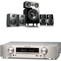 Marantz NR1609 Silver Gold AV Receiver With Heos Silver Plus Wharfedale DX 2 5 1 Speaker Package Bla