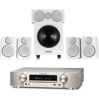 Marantz NR1609 Silver Gold AV Receiver with HEOS Plus Wharfedale DX 2 5 1 Speaker Package White