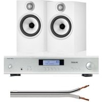 Rotel A11Integrated Amplifier UK-EC Tribute Silver With Bowers & Wilkins 606 S2 Anniversary Edition Standmount Loudspeaker (Pair) White