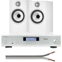Rotel A11Integrated Amplifier UK-EC Tribute Silver With Bowers & Wilkins 607 S2 Anniversary Edition Bookshelf Speakers (Pair) White