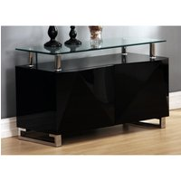 Rowley Clear Glass Top Sideboard In Black High Gloss With 2 Doors