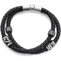 Fred Bennett Double Leather And Steel Bracelet - A3789