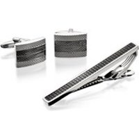 Black Tone Cufflinks And Tie Slide Set - A4540