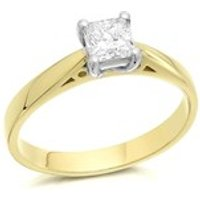 18ct Gold Princess Cut Diamond Solitaire Ring - 60pts - Certificated - D1076-O