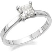 18ct White Gold 1 Carat Princess Cut Diamond Solitaire Ring - Certificated - D2380-P