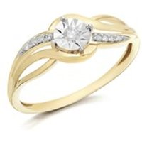 9ct Two Colour Gold Diamond Crossover Ring - D5128-N