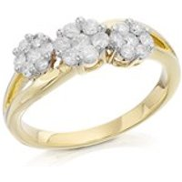 9ct Gold Diamond Trilogy Cluster Ring - 1/2ct - D5901-S