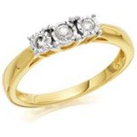 9ct Gold Diamond Trilogy Ring - 15pts - D5922-K