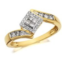 9ct Gold Diamond Crossover Cluster Ring - 1/3ct - D6013-M