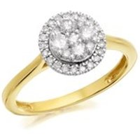 9ct Gold Diamond Halo Cluster Ring - 1/2ct - D6049-J