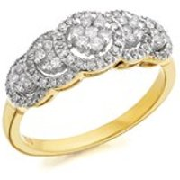 9ct Gold Diamond Cluster Band Ring - 1/2ct - D6109-N