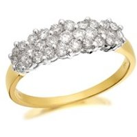 9ct Gold 1 Carat Diamond Cluster Band Ring - D6114-N