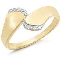 9ct Gold Diamond Crossover Twist Ring - 6pts - D6123-N