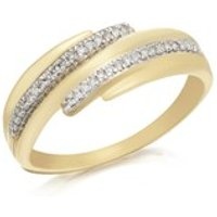 9ct Gold Diamond Crossover Band Ring - 10pts - D6125-N
