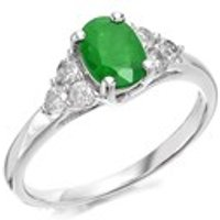 9ct White Gold Oval Emerald And Diamond Ring - 30pts -