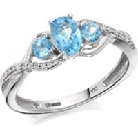9ct White Gold Blue Topaz And Diamond Crossover Ring - EXCLUSIVE - D63122-Q