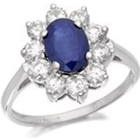 9ct White Gold 1.2 Carat Sapphire And 1 Carat Diamond Cluster Ring - D6358-N