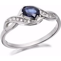 9ct White Gold Sapphire And Diamond Twist Ring - D6363-P
