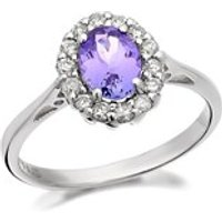 9ct White Gold Tanzanite And Diamond Cluster Ring - 1/4ct - D6380-R