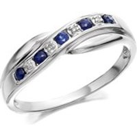 9ct White Gold Sapphire And Diamond Crossover Half Eternity Ring - D6387-M