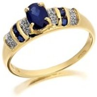 9ct Gold Diamond And Sapphire Ring - D6408-N
