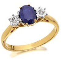 9ct Gold Sapphire And Diamond Trilogy Ring - 5pts - D6419-L