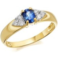 9ct Gold Sapphire And Diamond Ring - 12pts - D6420-Q