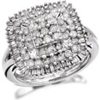 9ct White Gold 1 Carat Four Tier Diamond Cluster Ring - D6618-M
