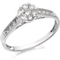 9ct White Gold Diamond Cluster Ring - 1/2ct - D6641-O