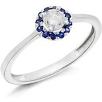 9ct White Gold Sapphire And Diamond Cluster Ring - 20pts - D6671-O