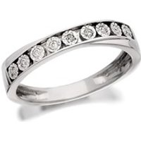9ct White Gold Diamond Crossover Half Eternity Ring - 6pts - D6683-R