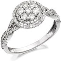 9ct White Gold Diamond Halo Cluster Ring - 60pts - D6685-P