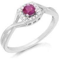 9ct White Gold Cushion Ruby And Diamond Cluster Ring - 10pts - D6699-M