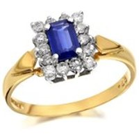 9ct Gold Diamond And Sapphire Cluster Ring - 1/4ct - D6702-Q