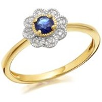 9ct Gold Sapphire And Diamond Flower Cluster Ring - D6706-J
