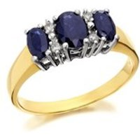 9ct Gold Diamond And Sapphire Ring - D6770-J