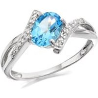 9ct White Gold Diamond And Blue Topaz Crossover Ring - D68110-O