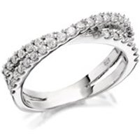 9ct White Gold Diamond Crossover Band Ring - 1/2ct - D6864-N